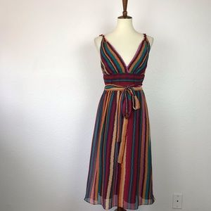 Max and Cleo Silk Striped Belted Lined Dress D713